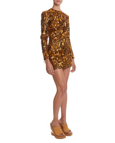 Sequined Giraffe-Patterned Mini Dress