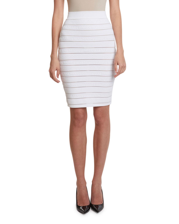 Balmain Skirts HIGH-WAIST LOGO-BANDED PENCIL SKIRT