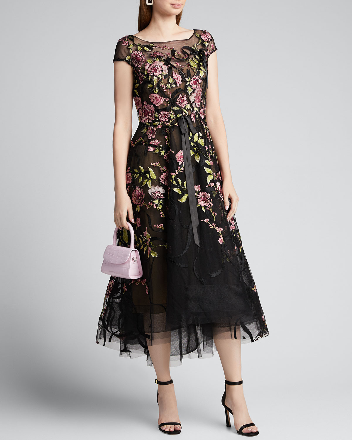 Marchesa FLORAL-EMBROIDERED RIBBON-WAIST TEA LENGTH DRESS