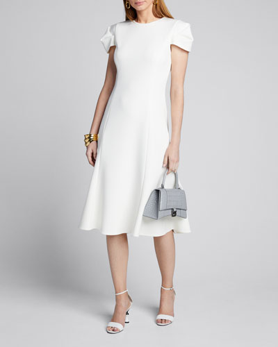 Compact Crepe Fit & Flare Dress