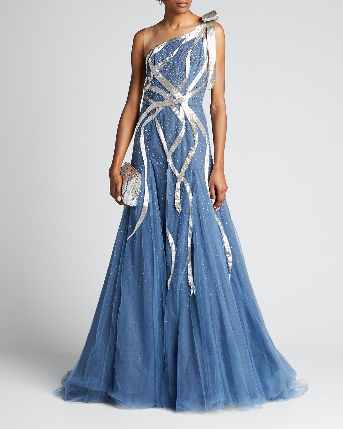 Marchesa Tops RIBBON-TRIM METALLIC TULLE ONE-SHOULDER GOWN