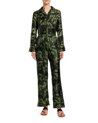 Jungle-Print Long-Sleeve Silk Jumpsuit w/ Lion Back Detail