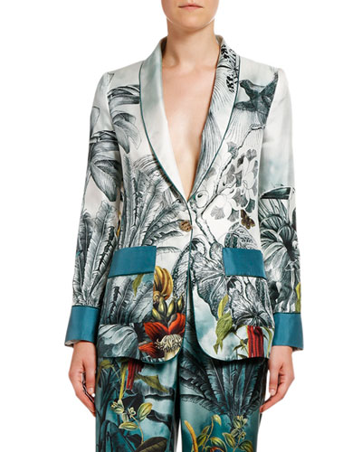 Paradise-Print Fitted Silk Jacket