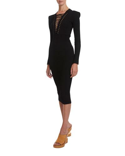 Lace-Up V-Neck Midi Dress