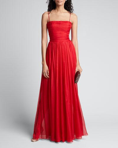 Chiffon Strapless Draped Gown