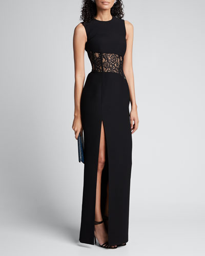 Sleeveless Lace-Inset Side Slit Gown