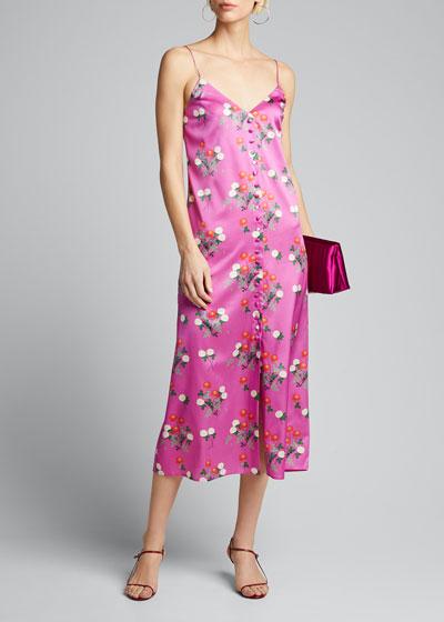 Hailey Floral-Print Satin Dress