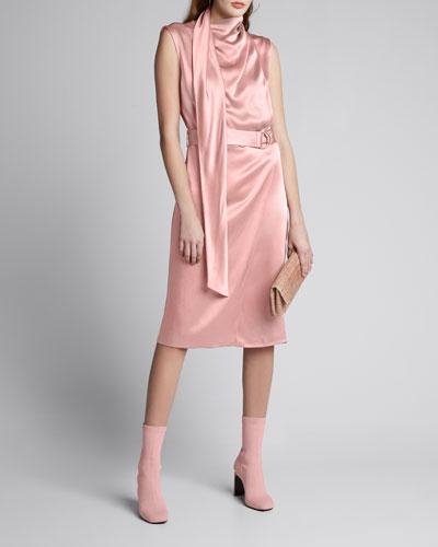 Satin Scarf-Neck Dress, Pink