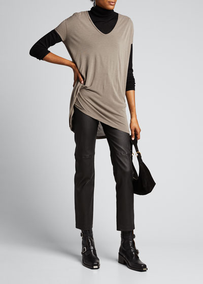 Short-Sleeve V-Neck Asymmetrical Hiked Tee