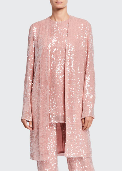 Sequined Jersey Duster Jacket, Pink