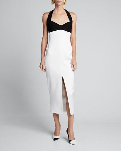 Colorblocked Halter-Neck Slit Dress
