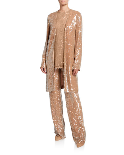 Sequined Jersey Duster Jacket, Camel