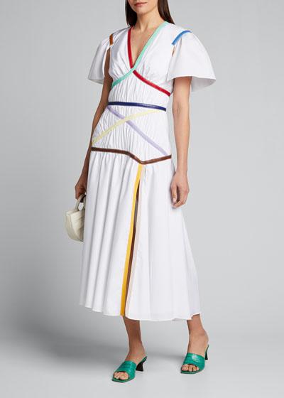 Faux-Leather Striped Poplin V-Neck Dress