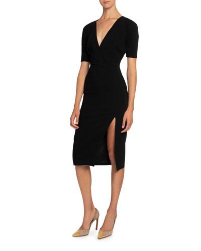 Short-Sleeve V-Neck Dress w/ Slit