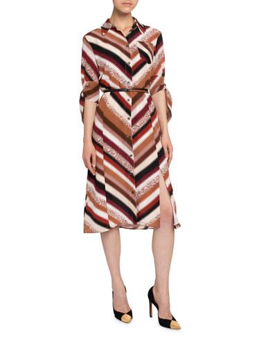 Chevron-Striped Silk Shirtdress