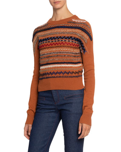 Embroidered-Striped Cashmere Sweater