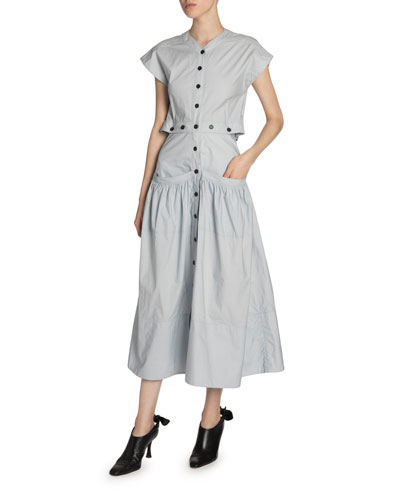 Poplin Button-Front Flared Dress