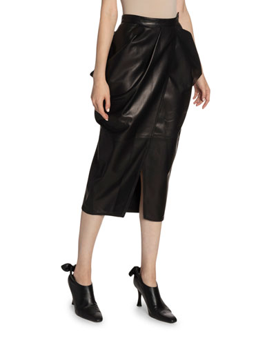 Leather High-Waist Tulip Skirt