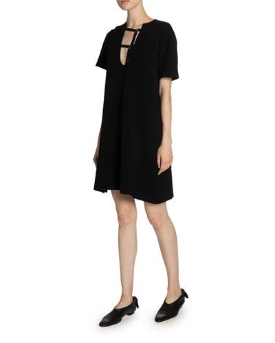 Buckle-Neck Jersey Shift Dress