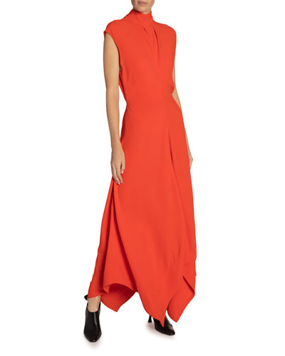 Crepe Mock-Neck Asymmetric Dress