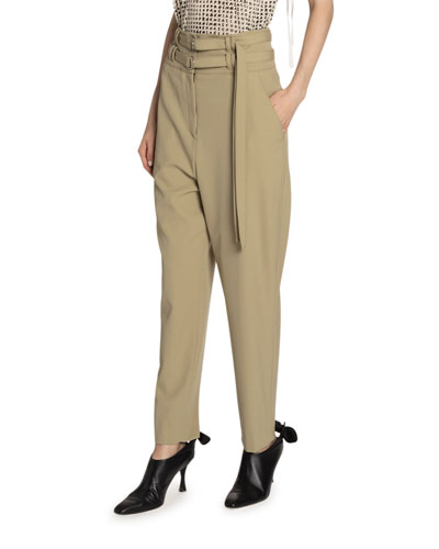 Belted Wool High-Waist Pants