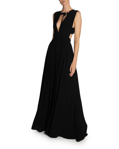 Deep V-Neck Sleeveless Maxi Dress w/ Strap Detail
