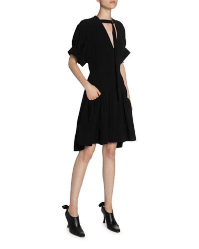 Crepe Buckle-Neck Fit-&-Flare Dress