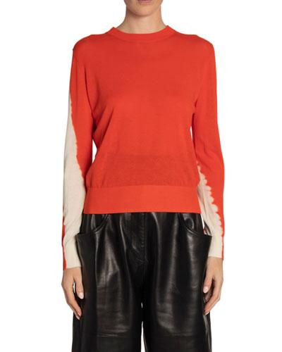 Tie-Dye-Sleeve Crewneck Sweater