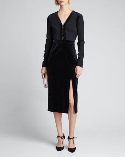 Long-Sleeve Velvet-Trim Dress