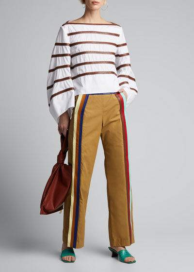 Cotton Twill Side-Striped Pants