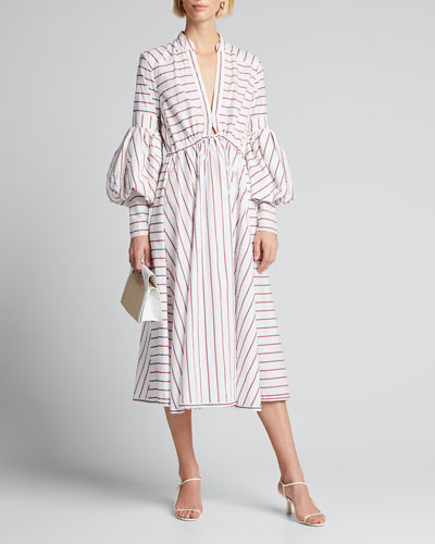 Striped Tie-Front Midi Dress