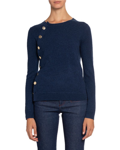 Cashmere Crewneck Button-Front Sweater