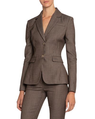 Striped Two-Button Wool-Blend Blazer