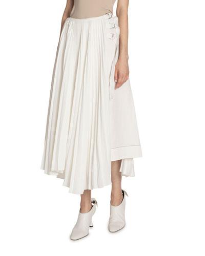 Pleated Buckle-Waist Skirt