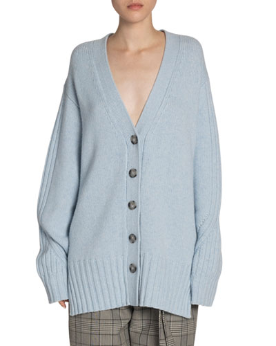 Cashmere Oversized Button-Front Cardigan