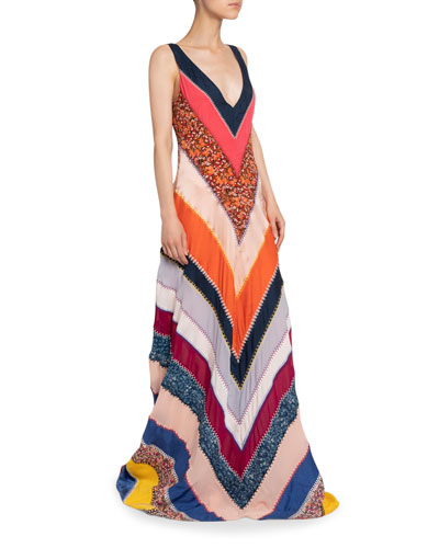 Chevron Striped Patchwork V-Neck Sleeveless Silk A-Line Gown