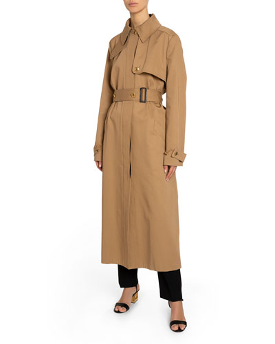Back-Striped Cotton Gabardine Trench Coat