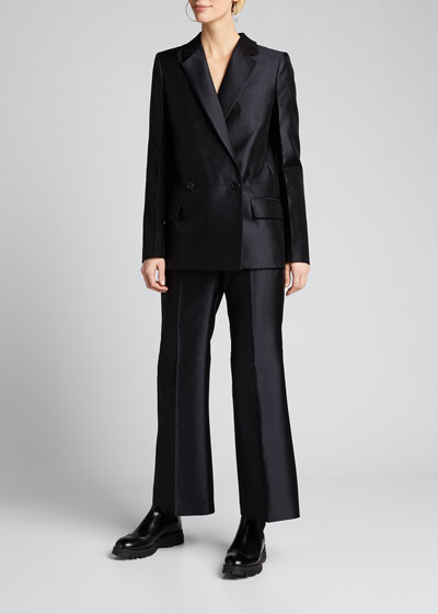 Double-Breasted Wool-Silk Structured Blazer