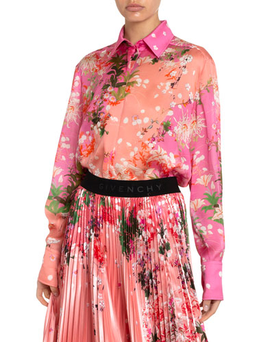 Floral Print Two-Tone Silk Blouse