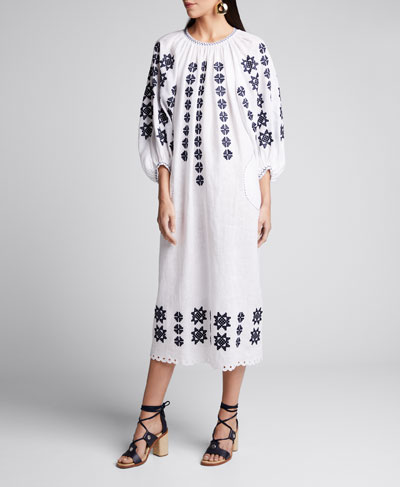 Star-Embroidered Linen Midi Dress