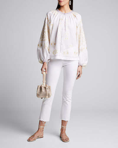Floral-Embroidered Linen Peasant Blouse