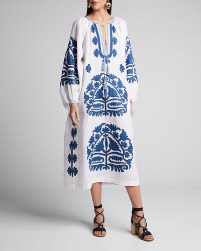 Shalimar Embroidered Linen Tie-Neck Dress