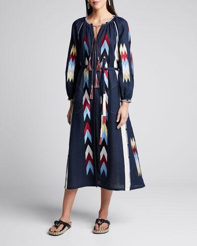 Arizona Chevron-Embroidered Linen Dress