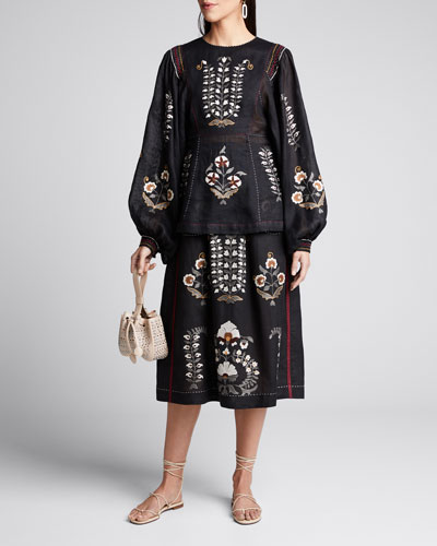 Patchouli Embroidered Balloon-Sleeve Blouse