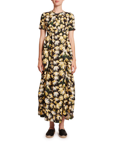 Daisy Print Ruffled Midi Dress