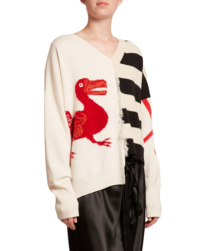 Striped Wool V-Neck Asymmetric Sweater