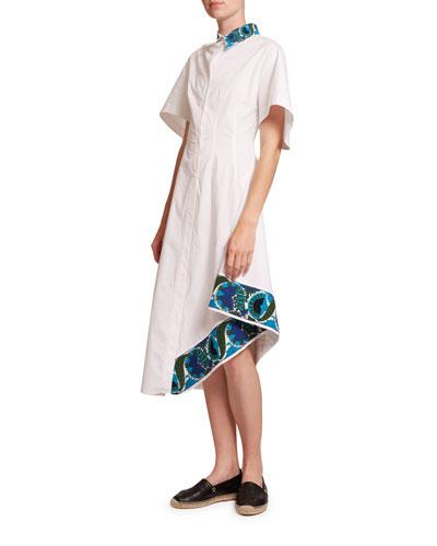 Embroidered Short-Sleeve Shirt Dress