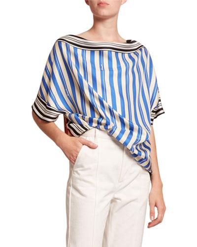 Striped Silk Scarf Top