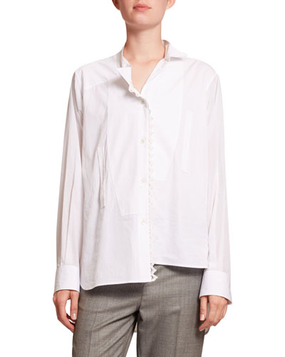 Lace-Trim Asymmetric Poplin Shirt