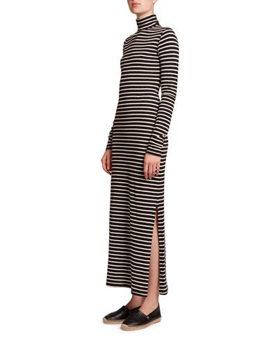 Striped High-Neck Jersey Maxi Dress